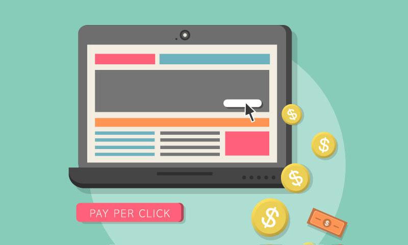 flat design web marketing pay per click internet advertising