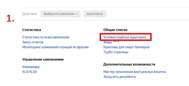 Условия подбора аудитории под списком кампаний в Яндекс.Директ