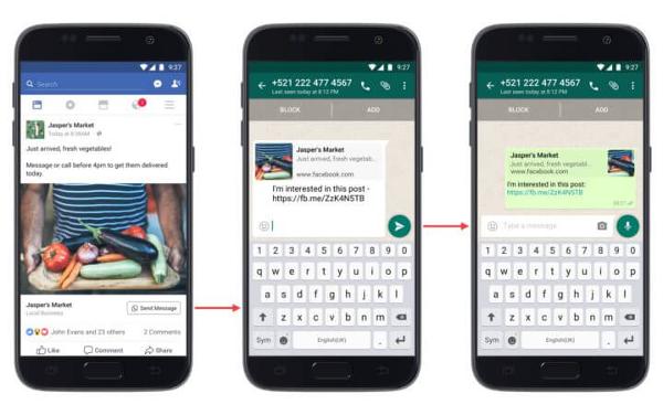 Facebook добавляет в рекламные объявления ссылку на WhatsApp