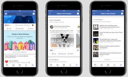 Facebook тестирует локальные новости и объявления