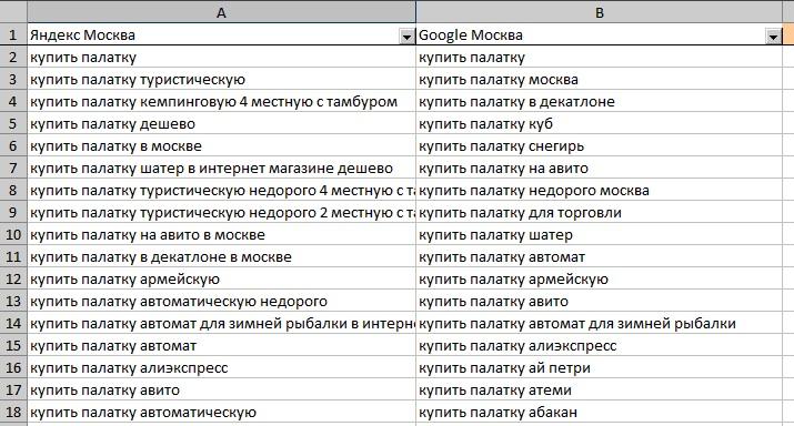 Поисковые подсказки из Яндекса, Google и YouTube в XLSX