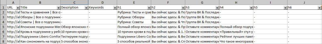 Отчет с мета-тегами и заголовками