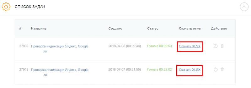 проверить индексацию страниц в ПромоПульт - Скачать отчет XLSX