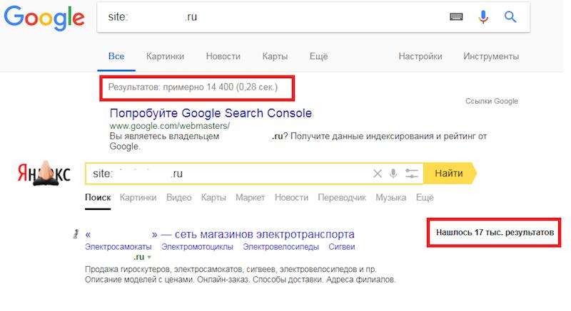 сравнение индексации страниц в Яндексе и Google