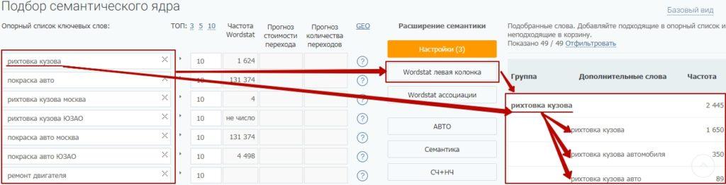 SEO для автомастерской - Подбор ключей из левой колонки Вордстат