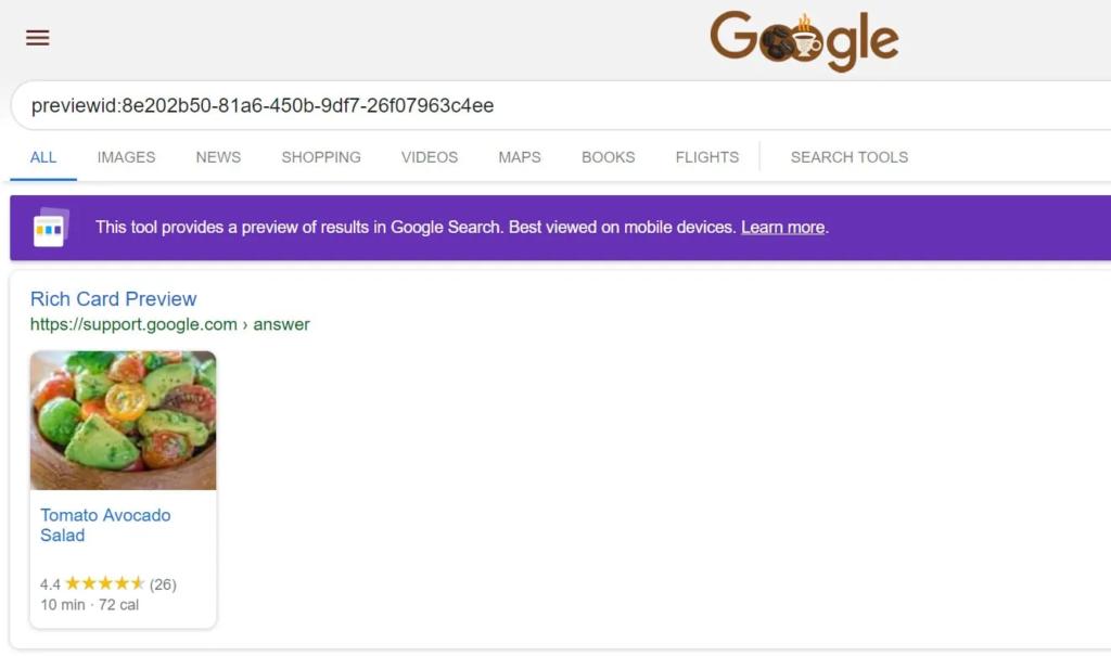 Предварительный просмотр в Google Rich Results Test Tool