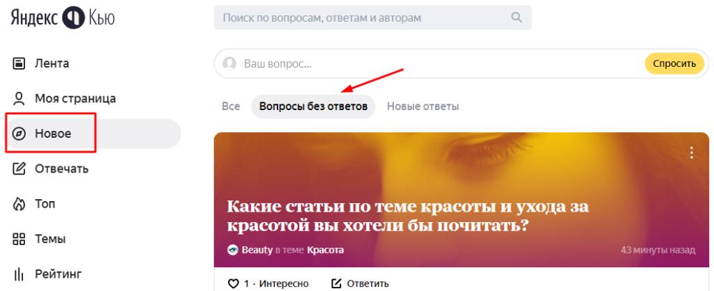 Вопросы без ответов в Яндекс.Кью