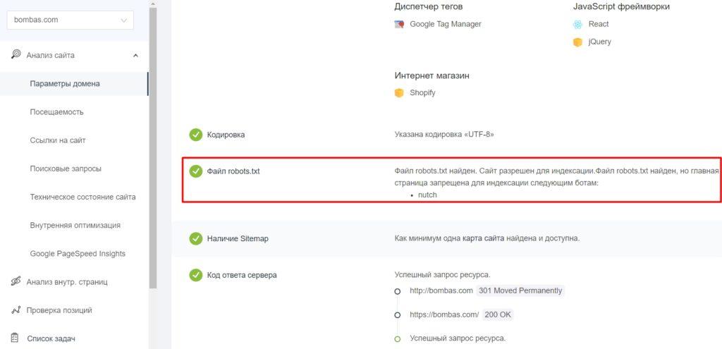 Фрагмент проверки сайта сервисом pr-cy.ru/analysis